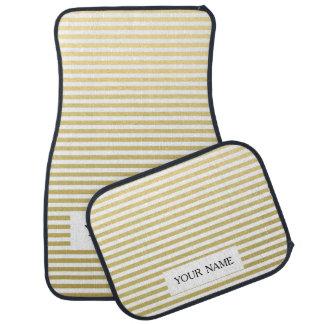 Gold Foil White Stripes Pattern Car Mat