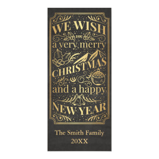Gold Foil Wish you a Merry Christmas Monogram Magnetic Invitations