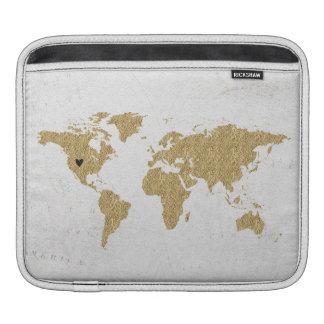 Gold Foil World Map Custom Moveable Heart Location iPad Sleeve
