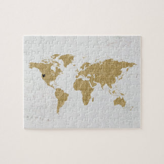 Gold Foil World Map Custom Moveable Heart Location Jigsaw Puzzle