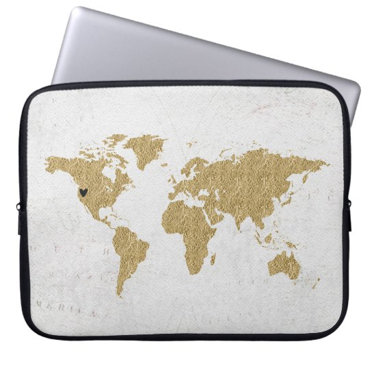 Gold Foil World Map Custom Moveable Heart Location