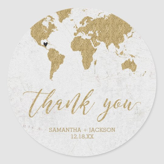 Gold Foil World Map Destination Monogram Wedding Classic