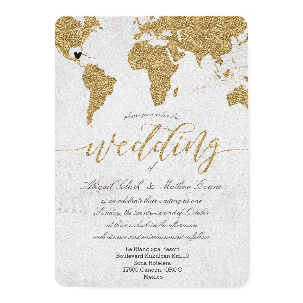Gold Foil World Map Destination Wedding Invitation