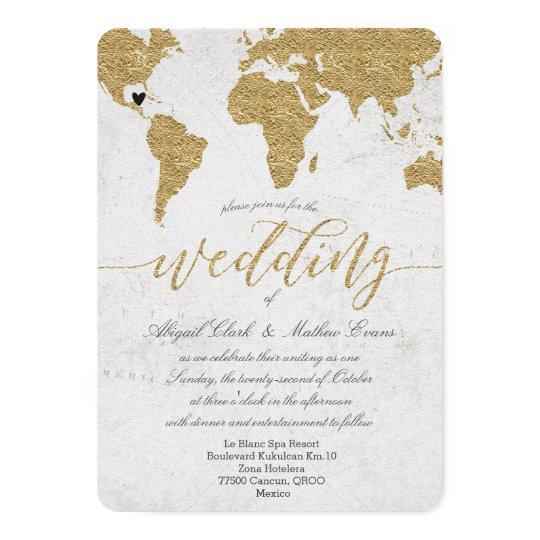 Gold Foil Wedding Invitations: Gold Foil World Map Destination Wedding Invitation