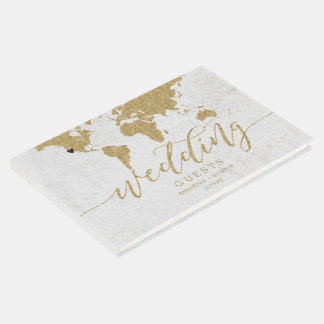 Gold Foil World Map Destination Wedding Monogram Guest Book