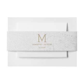 Gold Foil World Map Destination Wedding Monogram Invitation Belly Band