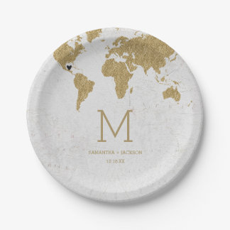Gold Foil World Map Destination Wedding Monogram Paper Plate