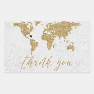 Gold world map stickers labels zazzle uk gold foil world map destination wedding thank you rectangular sticker gumiabroncs Gallery