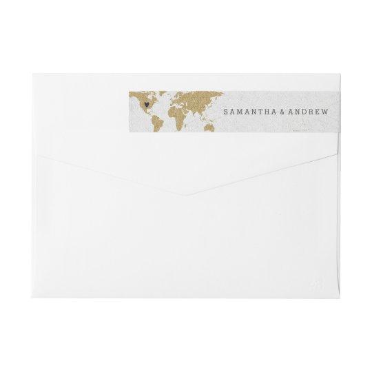 Gold Foil World Map Destination Wedding Wrap Around