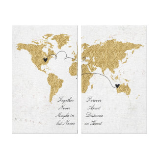 Gold Foil World Map Long Distance Relationship Canvas Print