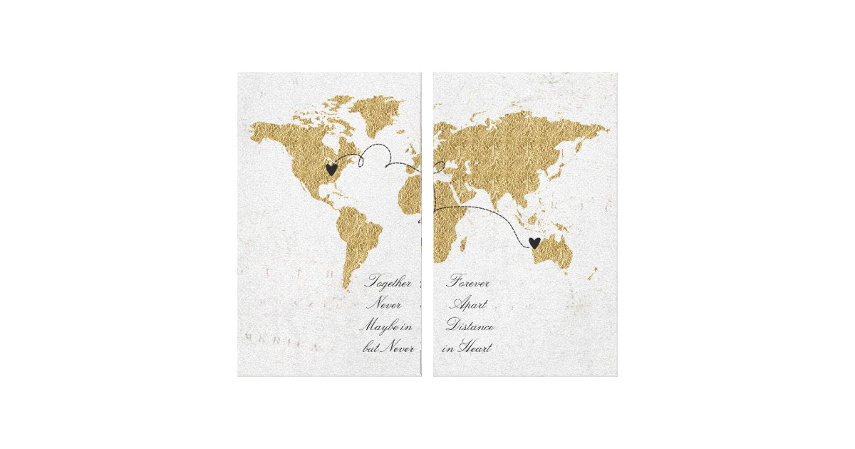 Gold foil world map long distance relationship canvas print zazzle gold foil world map long distance relationship canvas print zazzle gumiabroncs Image collections