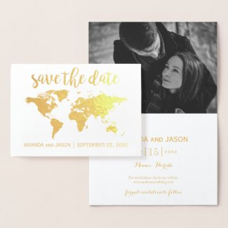 Gold foil world map save the date card