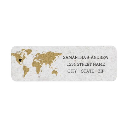 Gold Foil World Map Wedding Return Address