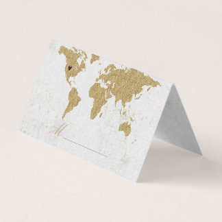 Gold Foil World Map Wedding Table Seating Place Card