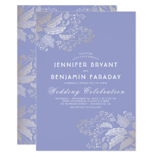 Gold Foliage Lavender Purple Elegant Wedding Card