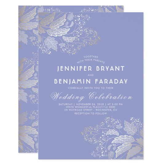 Gold Foliage Lavender Purple Elegant Wedding Card
