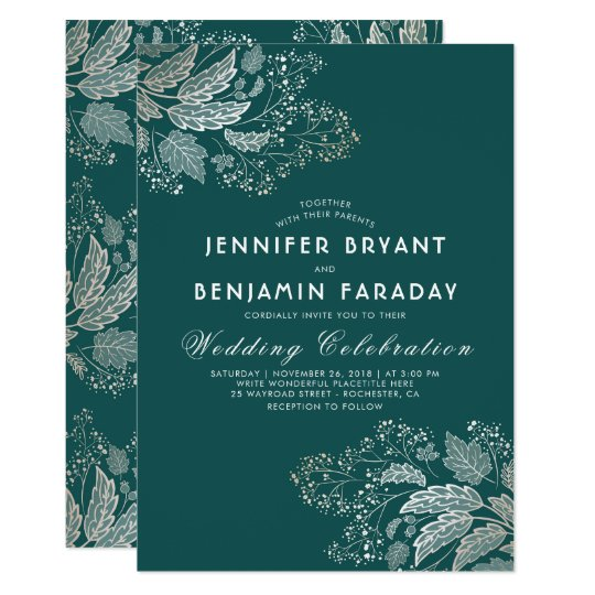 Gold Foliage Teal Green Elegant Modern Wedding Card