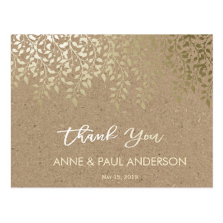 Gold foliage Thank You Card Postcard