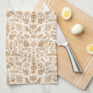 Gold Folk Art Thanksgiving Towel