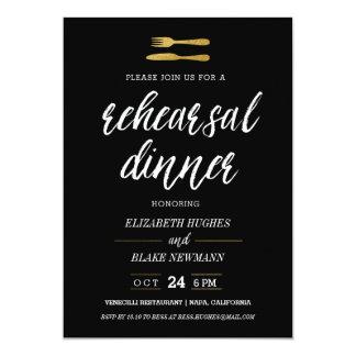 Gold Fork & Knife Rehearsal Dinner Invite - Black