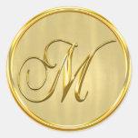 Gold Formal Wedding Monogram M Seal