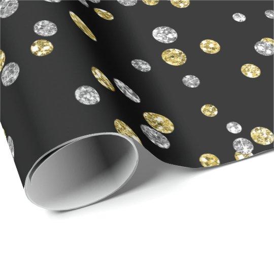 Gold Foxier Diamonds Metallic Black Confetti Lux Wrapping