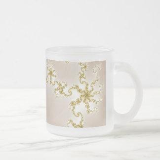 Gold Fractal Snowflake Frosted Glass Mug
