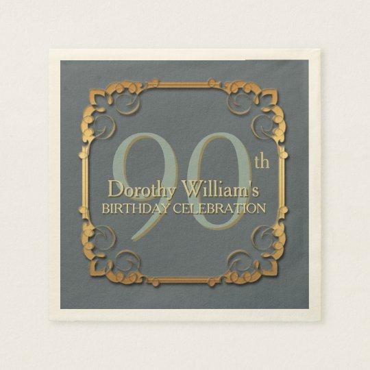 Gold Frame 90th Birthday Celebration Paper napkins