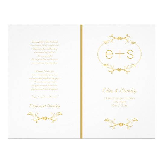 Gold frame and initials folded wedding program flyer