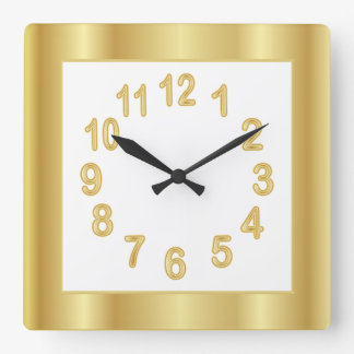 Gold Frame and Numbers | Choose Background Color Clocks