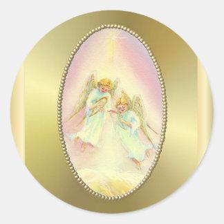 GOLD FRAME & ANGELS by SHARON SHARPE Round Sticker