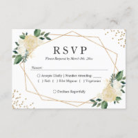 Gold Frame Green Ivory Floral Wedding RSVP Reply