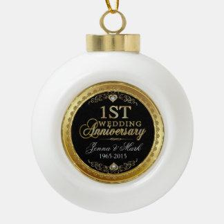 Gold Frame & Hearts First Wedding Anniversary Ceramic Ball Decoration