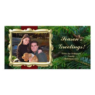 Gold Frame Horizontal Christmas Photo Cards