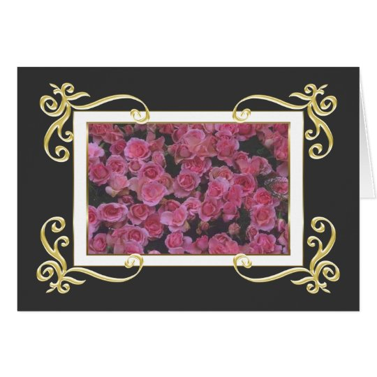 Gold Frame Roses Card