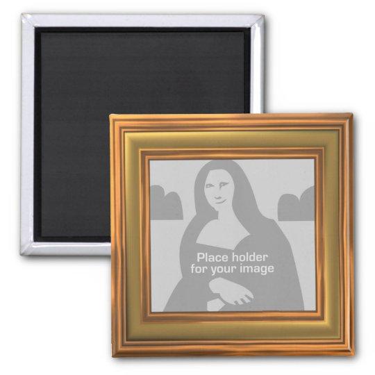 Gold Frame Template Square Magnet