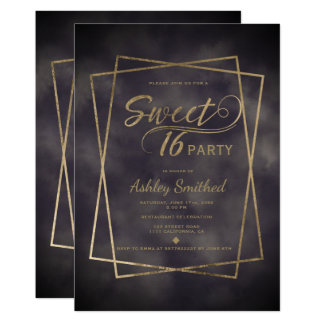 Gold frame typography grey watercolor Sweet 16 Card