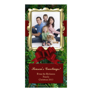 Gold Frame Vertical Christmas Photo Cards
