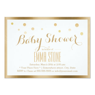 Gold Framed Confetti Dots Baby Shower 13 Cm X 18 Cm Invitation Card