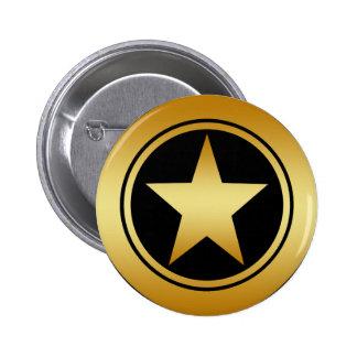 GOLD FRAMED STAR 6 CM ROUND BADGE