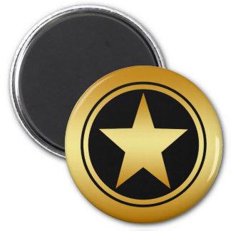 GOLD FRAMED STAR 6 CM ROUND MAGNET