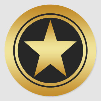 GOLD FRAMED STAR CLASSIC ROUND STICKER