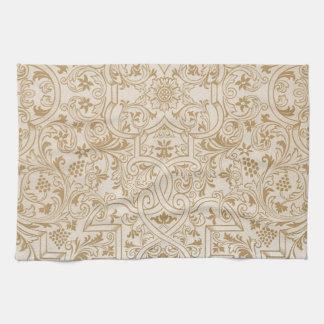 Gold Franco-Oriental Filigree Pattern Fancy Design Kitchen Towel