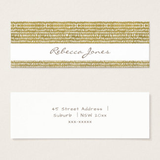 GOLD FREEHAND BRUSH PATTERN MONOGRAM ADDRESS MINI BUSINESS CARD
