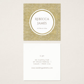 GOLD FREEHAND BRUSH PATTERN MONOGRAM Wedding Square Business Card