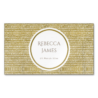 GOLD FREEHAND BRUSH STROKE PATTERN MONOGRAM MAGNETIC BUSINESS CARDS