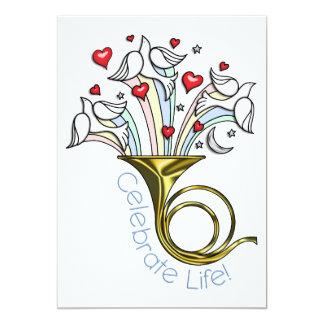Gold French Horn, Doves, Hearts, Celebrate Life Card