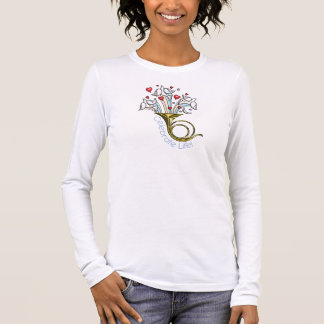Gold French Horn, Doves, Hearts, Celebrate Life Long Sleeve T-Shirt