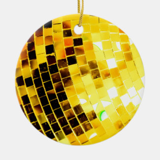 Gold Funky Disco Ball Christmas Ornament