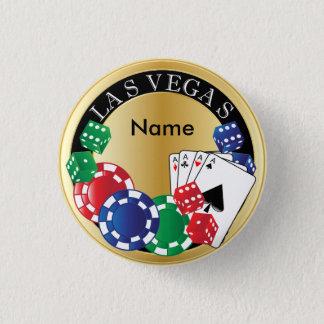 Gold Gambler Las Vegas - Dice, Cards, Poker Chips 3 Cm Round Badge